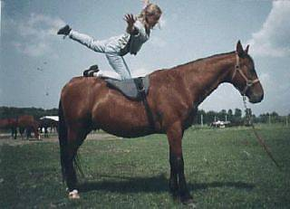 Jenny doing a horseback exercise called the Swan